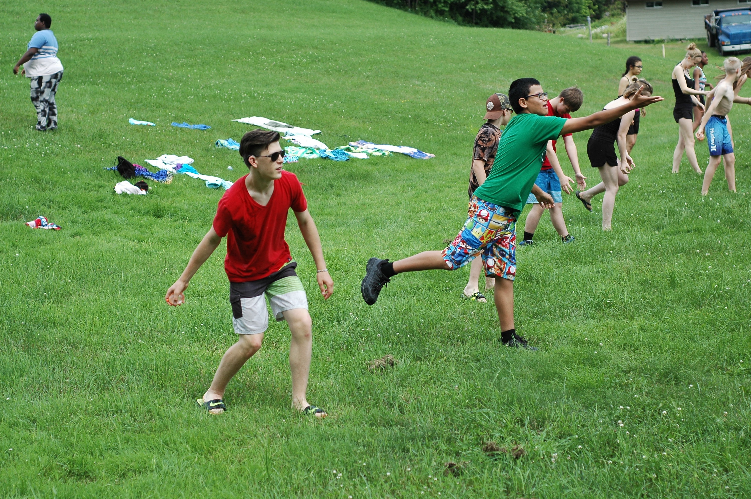 Campers playing outdoor games.