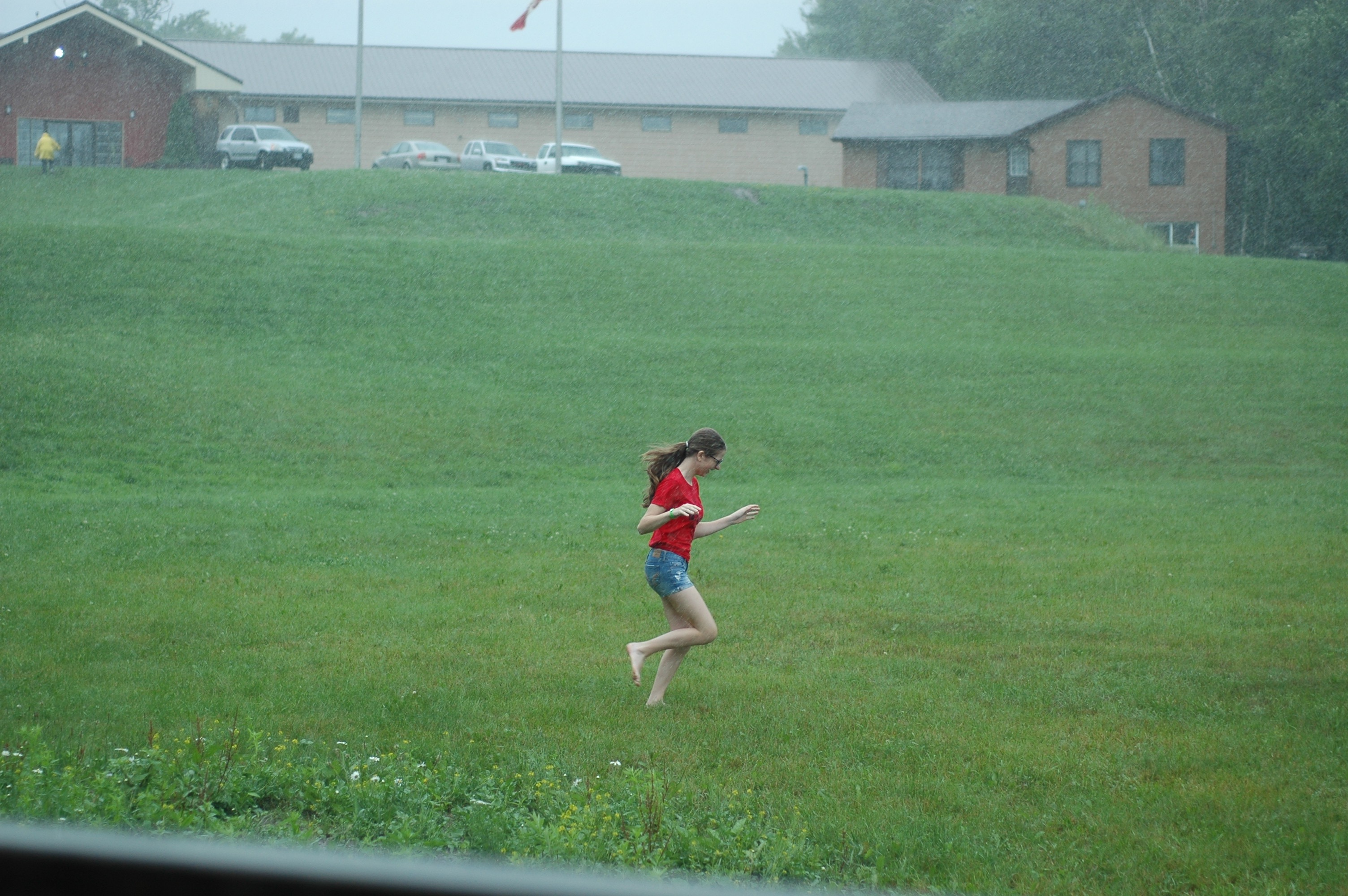 Camper having fun in the rain.