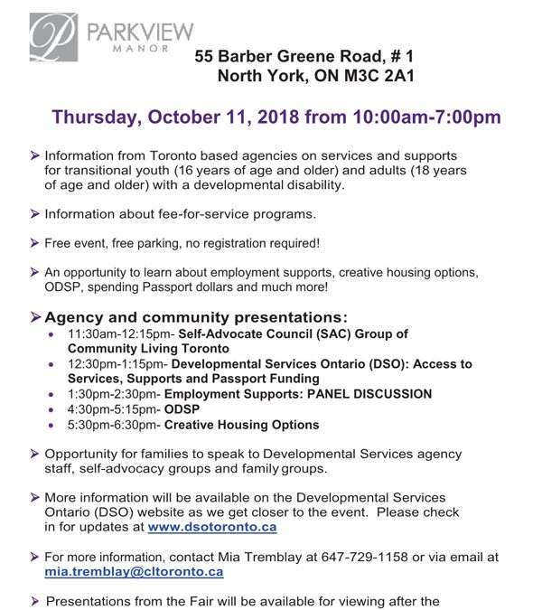 Developmental Services Information Fair 2018