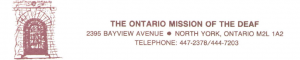 Ontario Mission for the Deaf letterhead